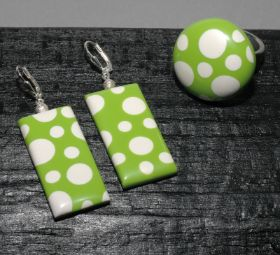 earrings and ring - polka dots in green